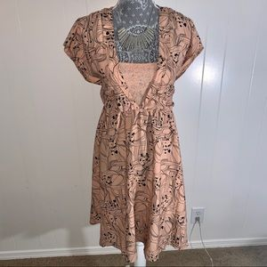 NWT H&M Short-Sleeve Pink Floral Dress with lace